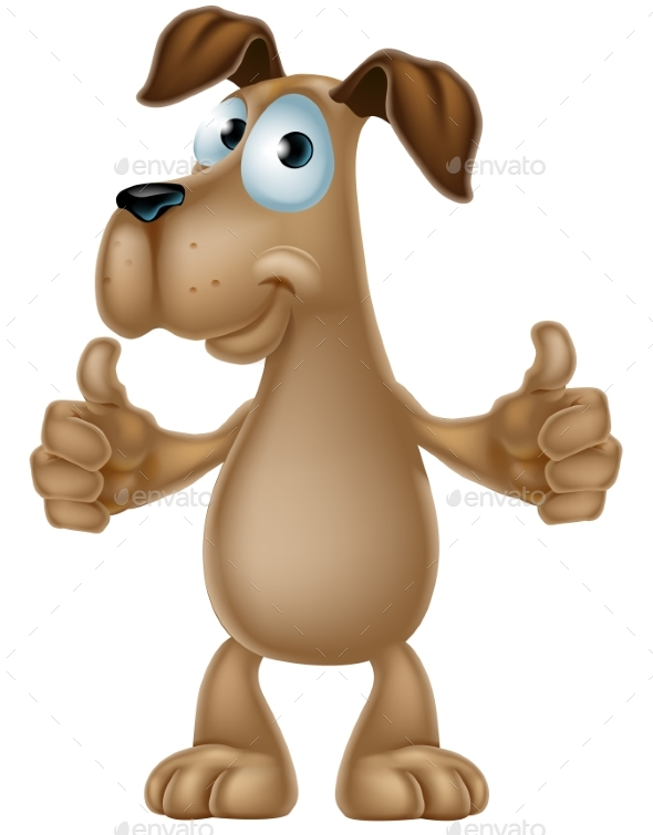 Dog Cartoon Giving Thumbs Up - Animals Characters