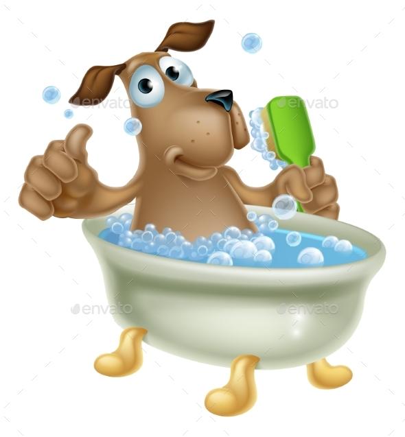 Dog Grooming Bath Cartoon - Animals Characters