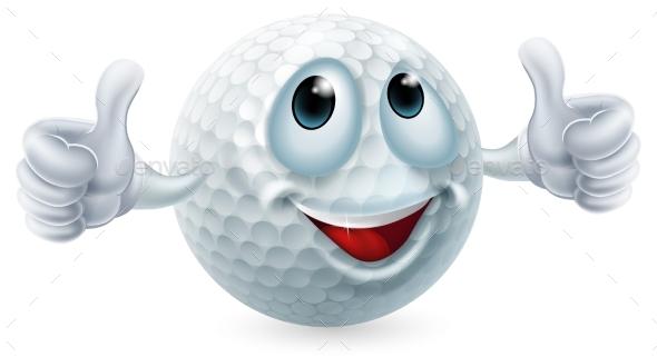 Cartoon Golf Ball Character - Miscellaneous Vectors