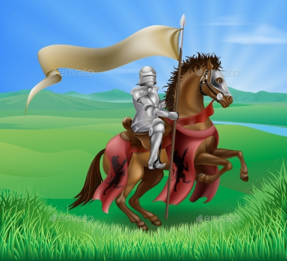 Knight on Horse in Field - Miscellaneous Vectors