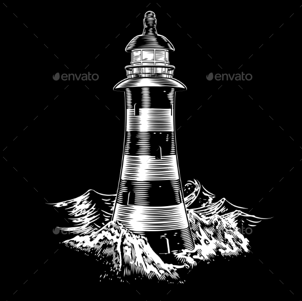 Lighthouse at Night with Rough Sea - Buildings Objects