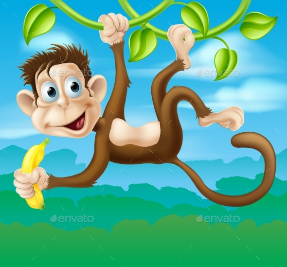 Monkey Cartoon in Jungle Swinging on Vine - Animals Characters