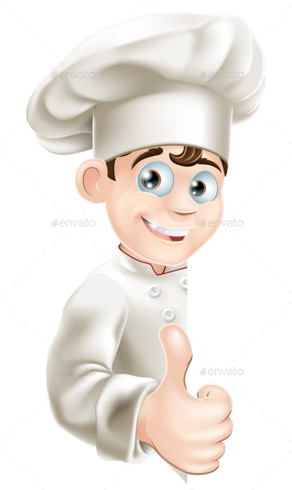 Chef Cartoon Giving Thumbs Up Sign - People Characters