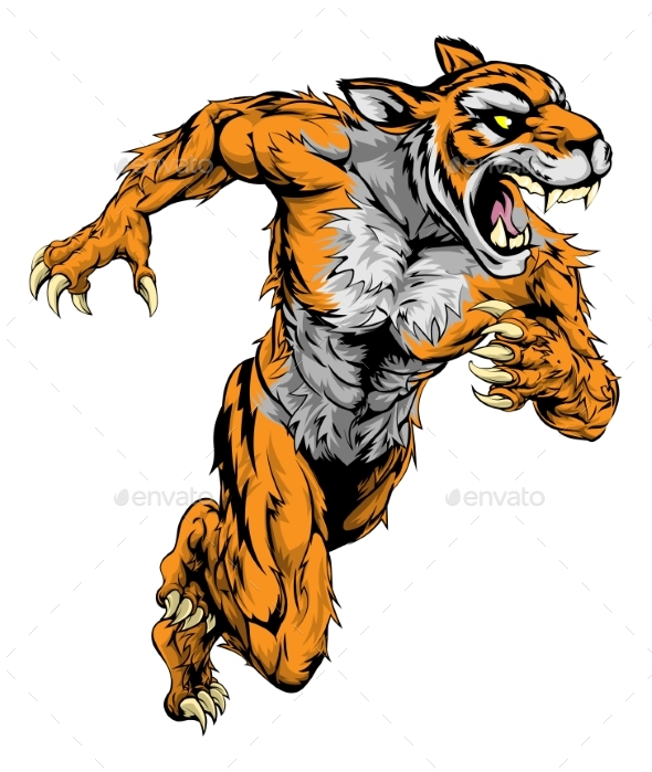Tiger Sports Mascot Running - Animals Characters