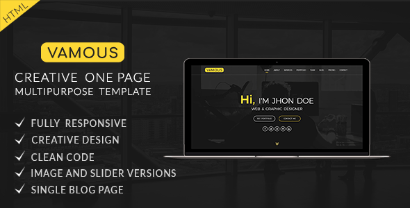 Vamous | One Page Portfolio & Multipurpose HTML5 Template - Creative Site Templates