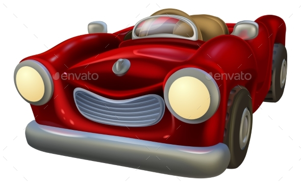 Cartoon Convertible Car - Man-made Objects Objects