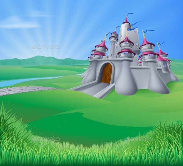 Castle Landscape Illustration - Buildings Objects