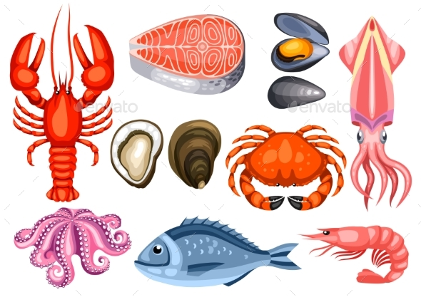 Various Seafood Set. Illustration of Fish - Food Objects