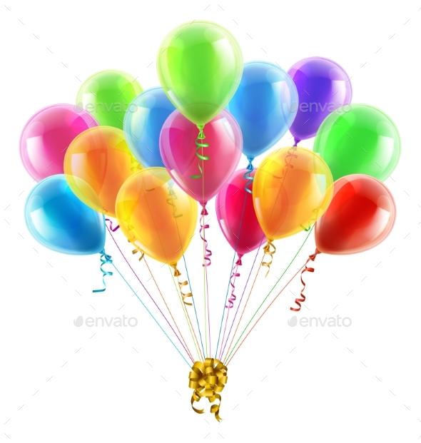 Birthday or Party Balloons and Bow - Birthdays Seasons/Holidays