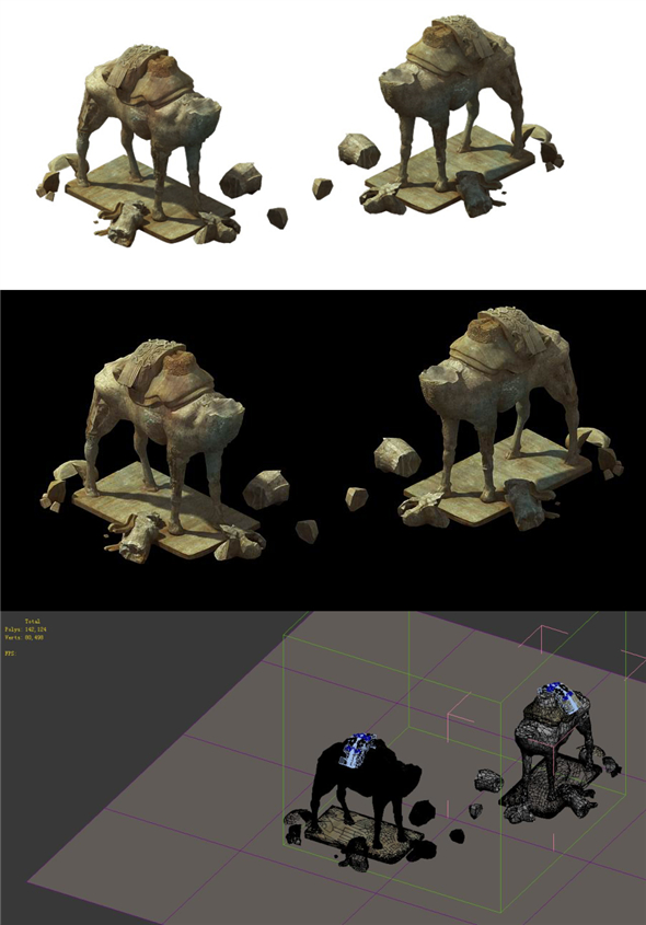 Game Model - Broken camel stone carving - 3DOcean Item for Sale