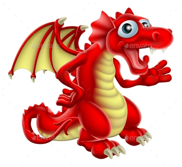 Cartoon Red Dragon - Animals Characters
