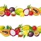 Seamless Border with Exotic Tropical Fruits - GraphicRiver Item for Sale