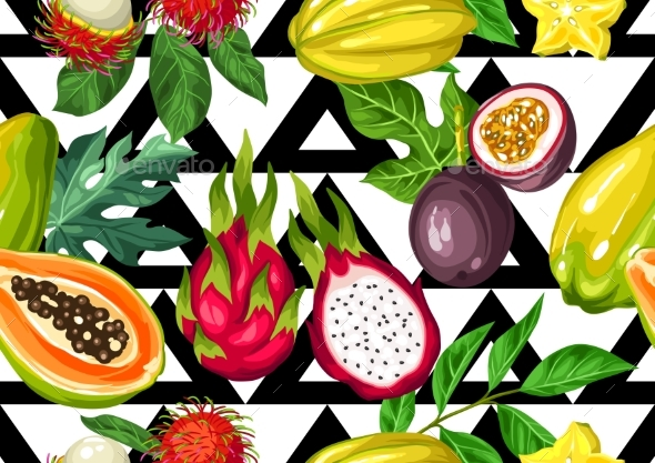 Seamless Pattern with Exotic Tropical Fruits - Food Objects