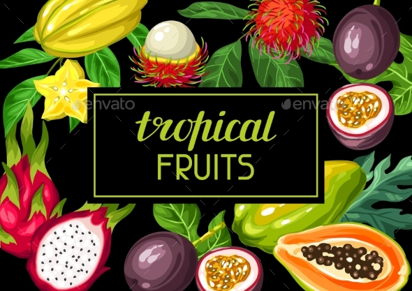 Background with Exotic Tropical Fruits - Food Objects