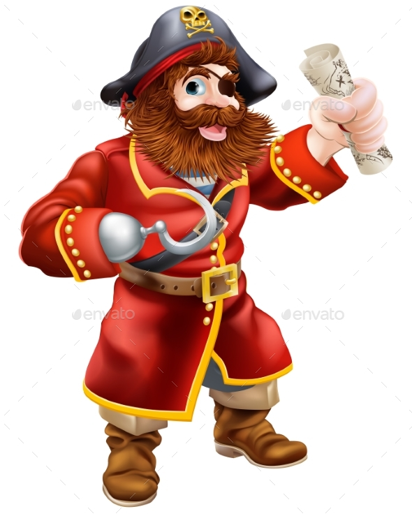 Cartoon Pirate with Treasure Map - People Characters