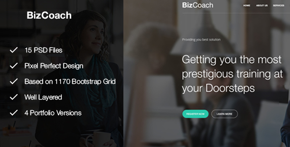BizCoach – Busines Training, Coaching & Corporate PSD Template