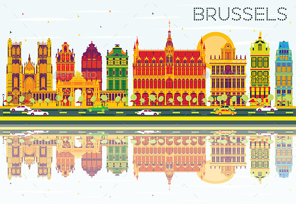 Brussels Skyline with Color Buildings, Blue Sky and Reflections. - Buildings Objects