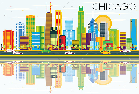 Chicago Skyline with Color Buildings and Reflections. - Buildings Objects