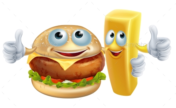 Burger and Chip Characters - Food Objects