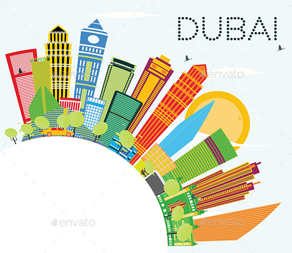 Dubai Skyline with Color Buildings, Blue Sky and Copy Space. - Buildings Objects