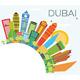 Dubai Skyline with Color Buildings, Blue Sky and Copy Space.