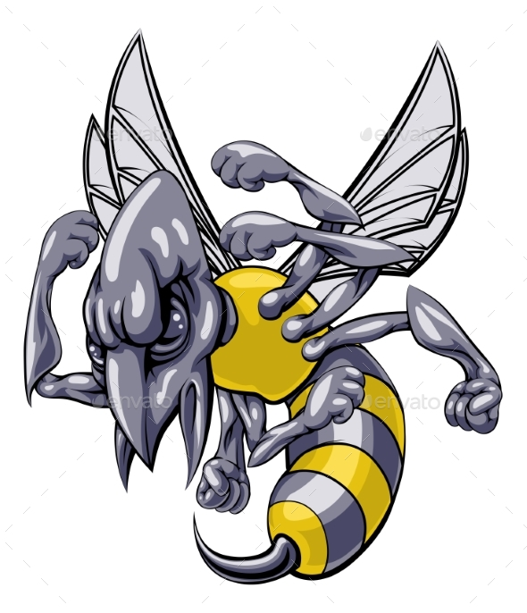 Mean Wasp or Hornet Mascot - Animals Characters