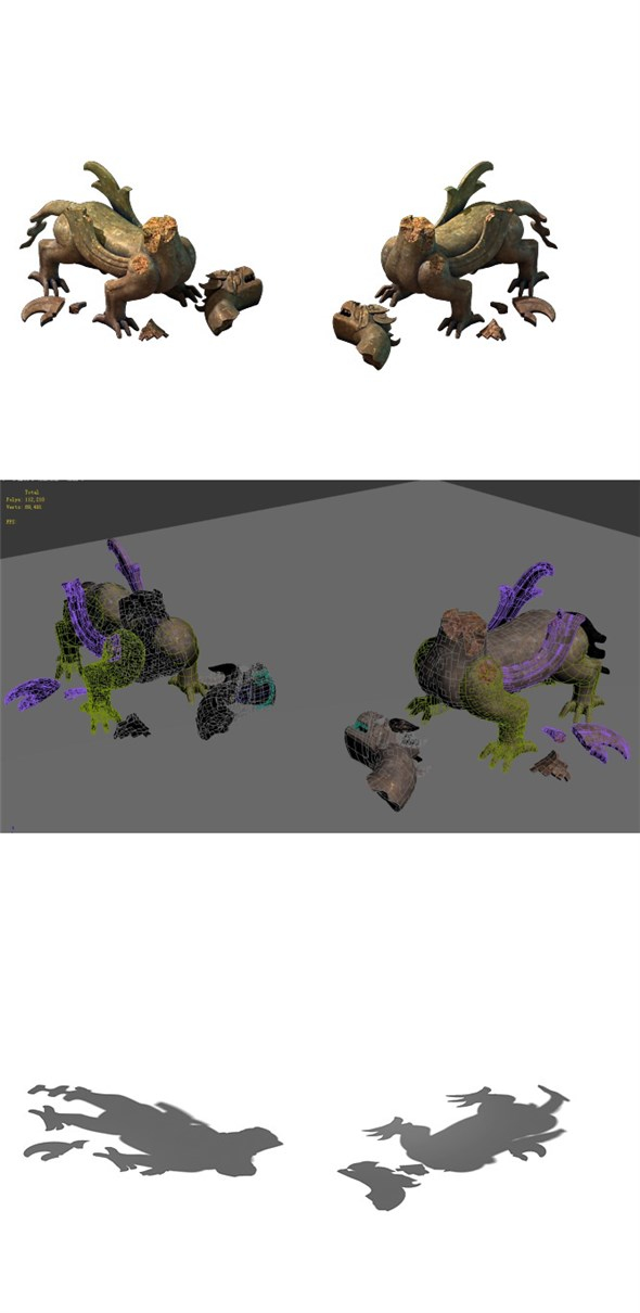 Game Model - Broken Funeral Evil stone beast - 3DOcean Item for Sale