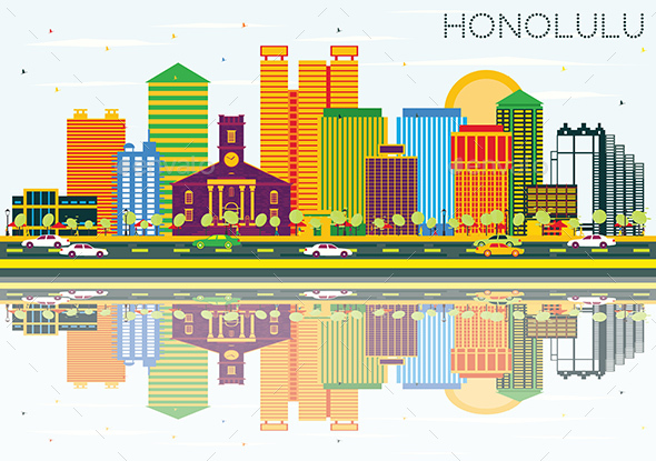 Honolulu Skyline with Color Buildings, Blue Sky and Reflections. - Buildings Objects