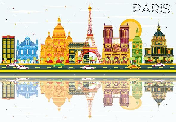 Paris Skyline with Color Buildings, Blue Sky and Reflections. - Buildings Objects