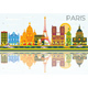 Paris Skyline with Color Buildings, Blue Sky and Reflections.