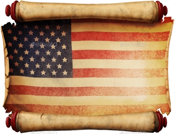 Manuscript with the US Flag - Backgrounds Graphics