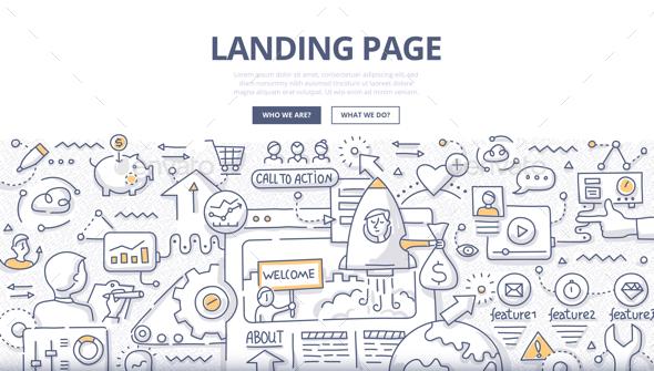 Landing Page Doodle Concept - Web Technology