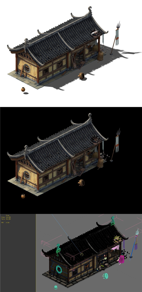 Game model - broken temple side hall - 3DOcean Item for Sale