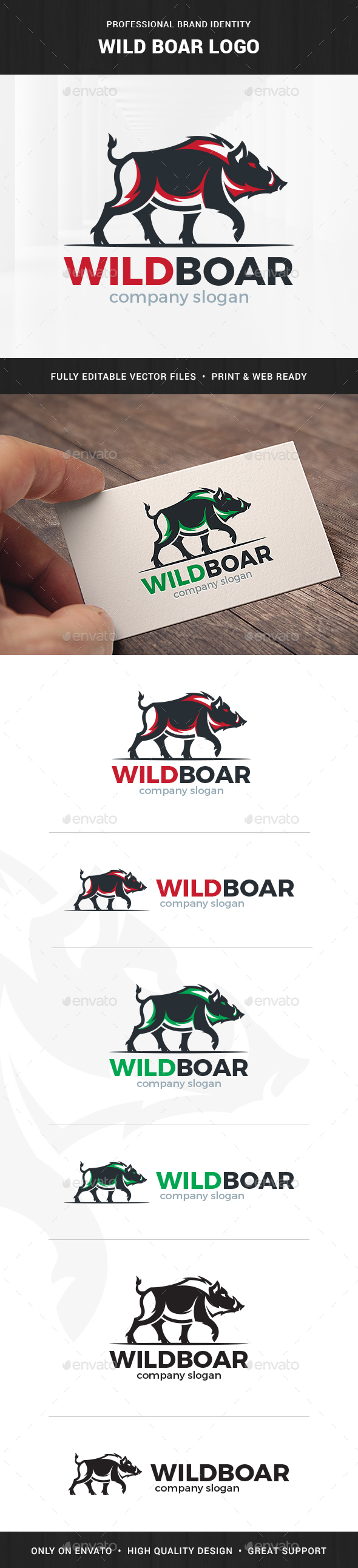 Wild Boar Logo Template - Animals Logo Templates