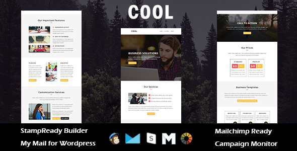 Cool – Multipurpose Responsive Email Template with Stampready Builder Access