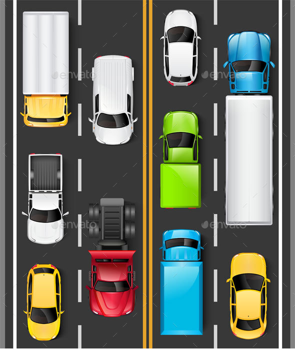 Top View of Cars and Trucks on the Road - Man-made Objects Objects