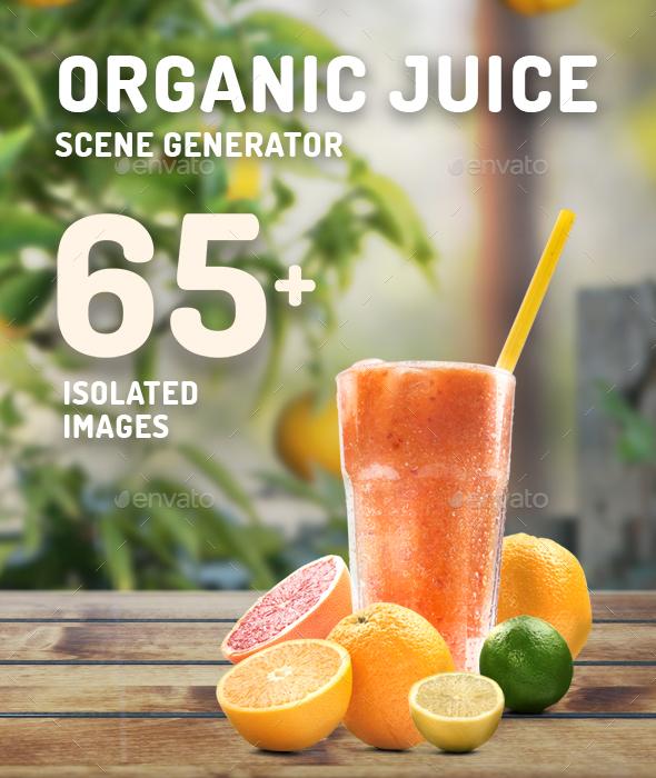 Organic Juice Mockup & Hero Image Scene Generator - Hero Images Graphics