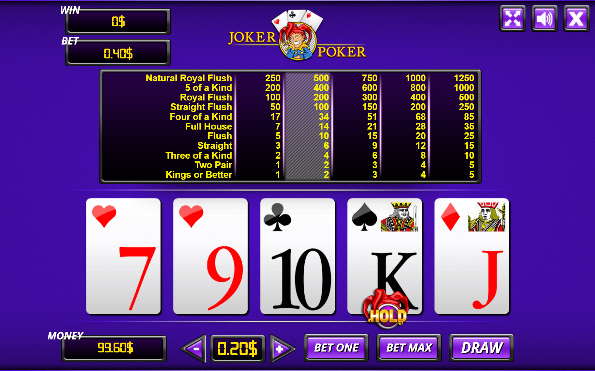 The joker casino menu