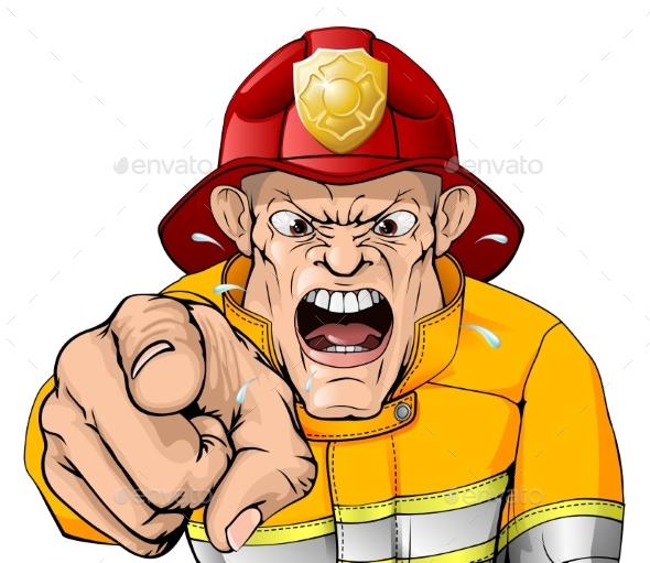 Angry Fireman Cartoon - People Characters