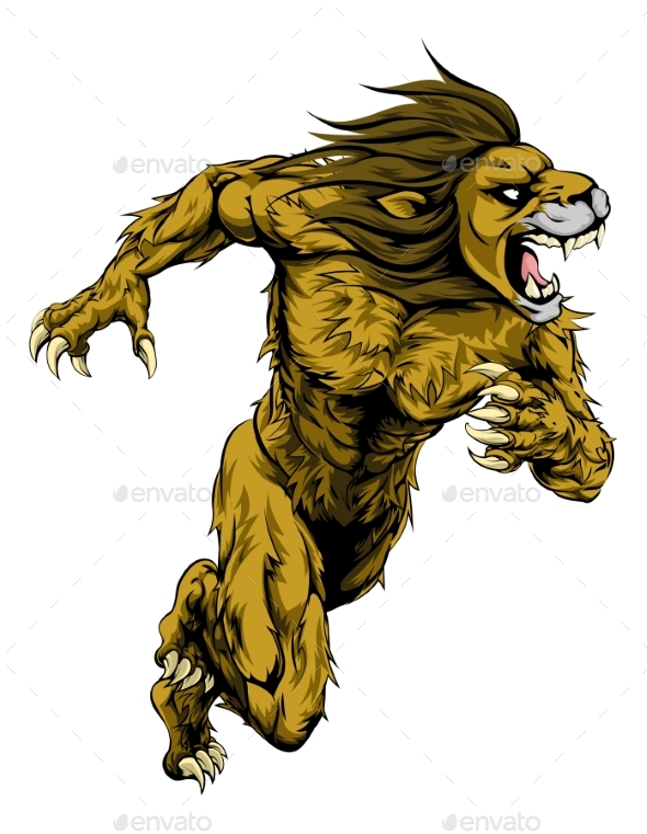 Lion Sports Mascot Running - Animals Characters