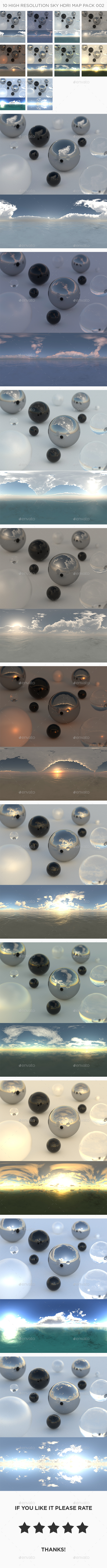 10 High Resolution Sky HDRi Maps Pack 002 - 3DOcean Item for Sale