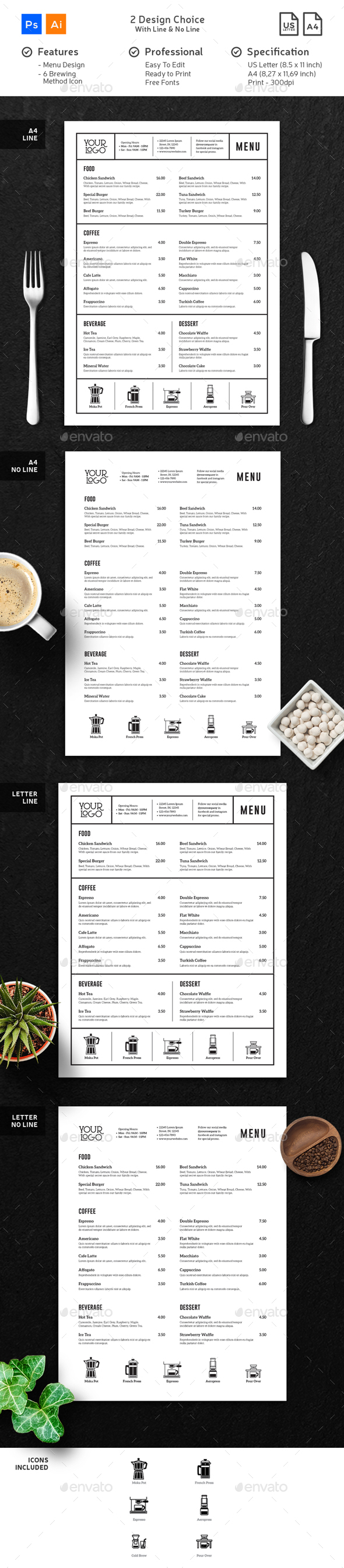 Coffee Menu Minimalist Clean - Food Menus Print Templates