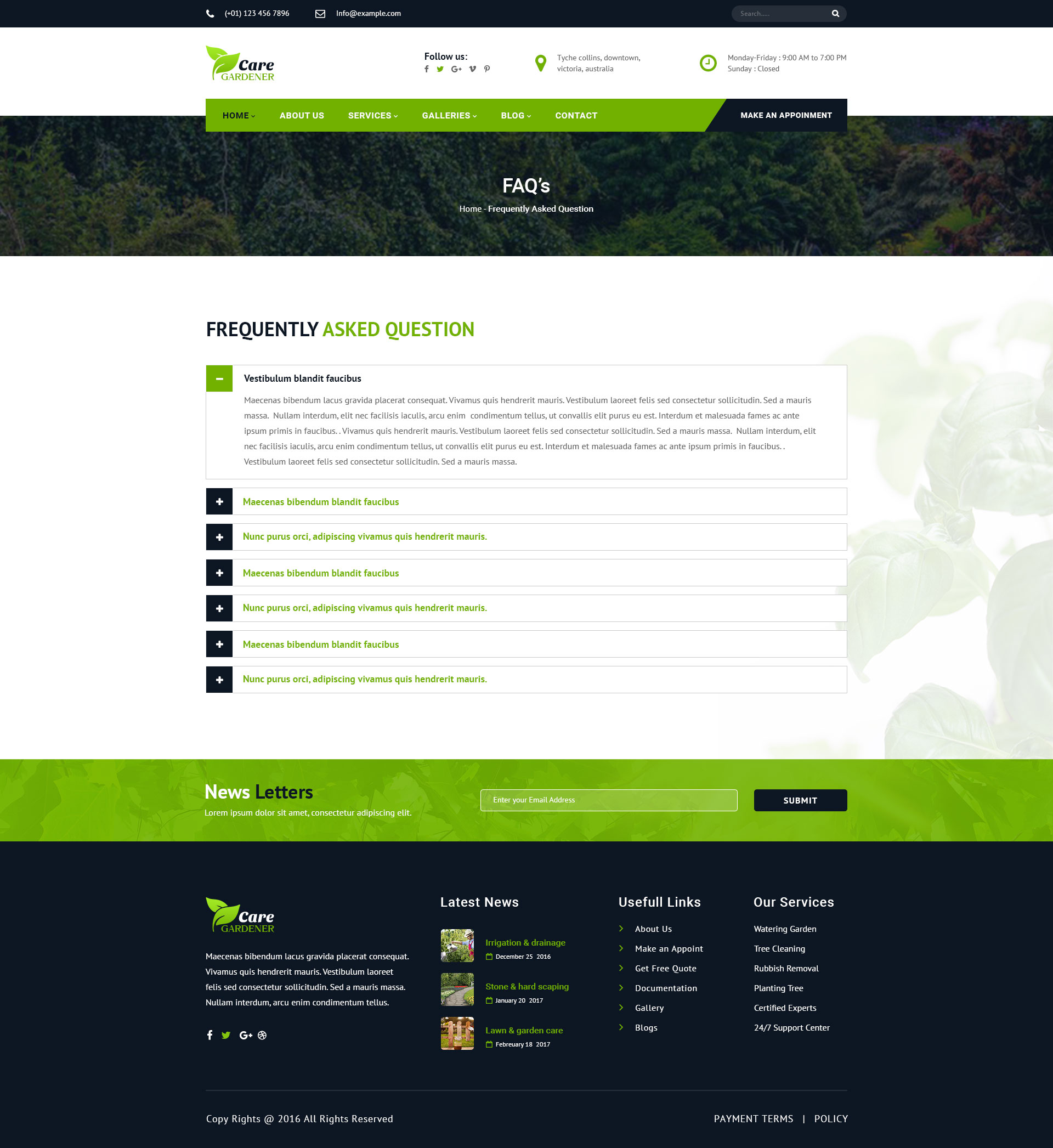 Care gardner gardeneing and landscaping psd template by for Gardner landscaping