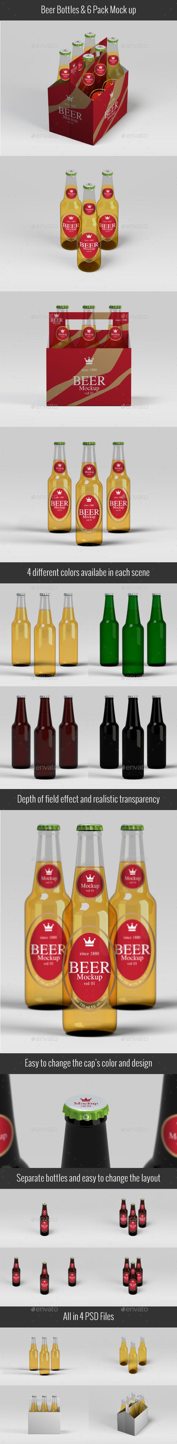 Beer Bottles & Six Pack Mockup V01 - Food and Drink Packaging