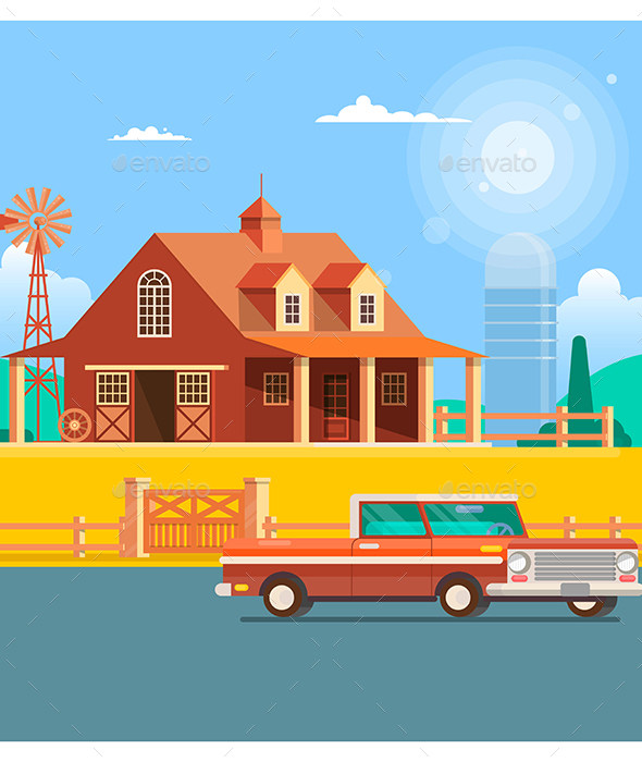 Farm House With Windmill Flat Vector Illustration - Buildings Objects