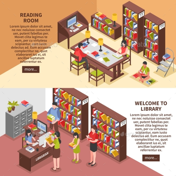 Library Isometric Horizontal Banners - Business Conceptual