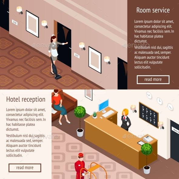 Hotel Service Isometric Horizontal Banners - Backgrounds Decorative
