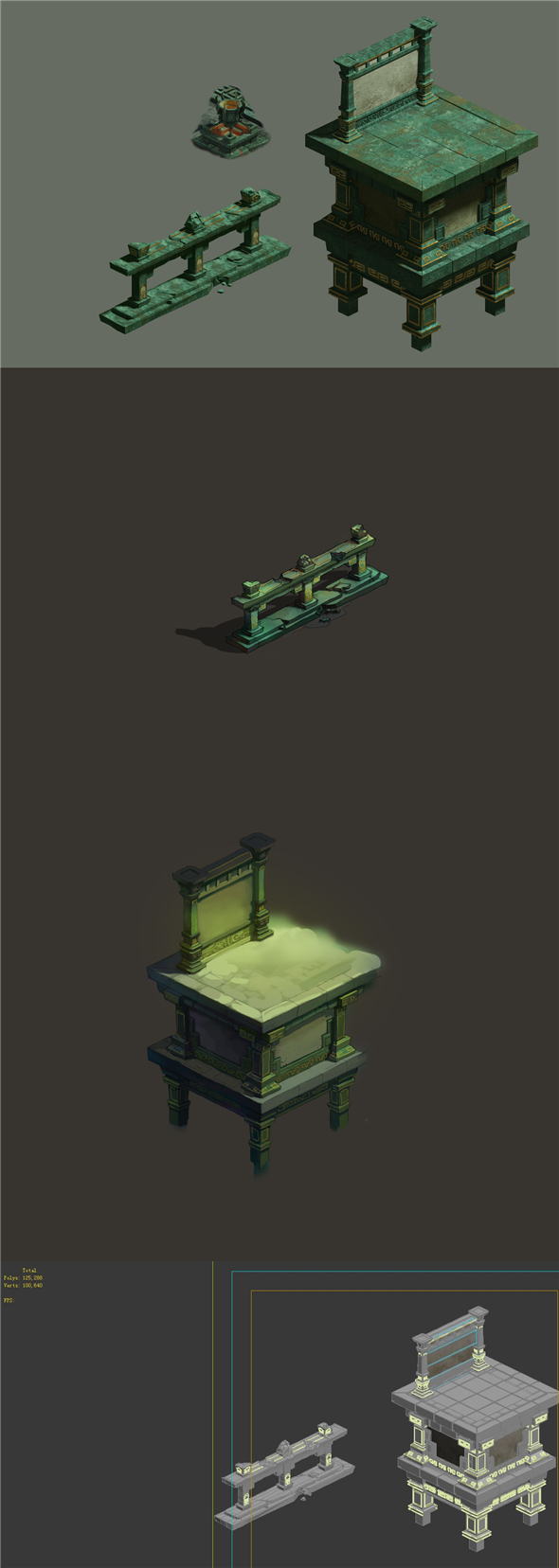 Game Model - Ground Palace base railings - 3DOcean Item for Sale