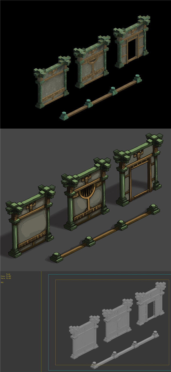Game Model - Palace of the Palace of the Palace of the Beast Palace gorgeous wall - 3DOcean Item for Sale