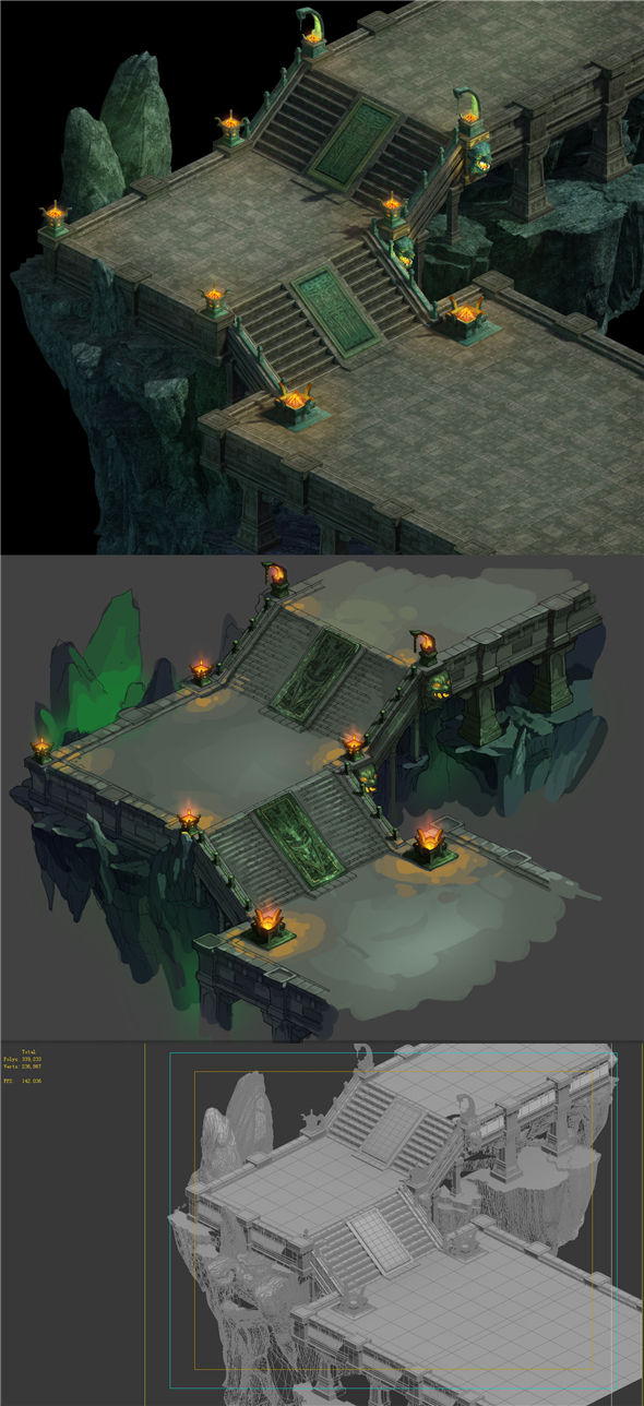 Game model - a large underground downstairs Gung Ho Area staircase - 3DOcean Item for Sale